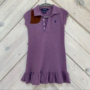Girls' Ralph Lauren Purple Polo Dress with Ruffle